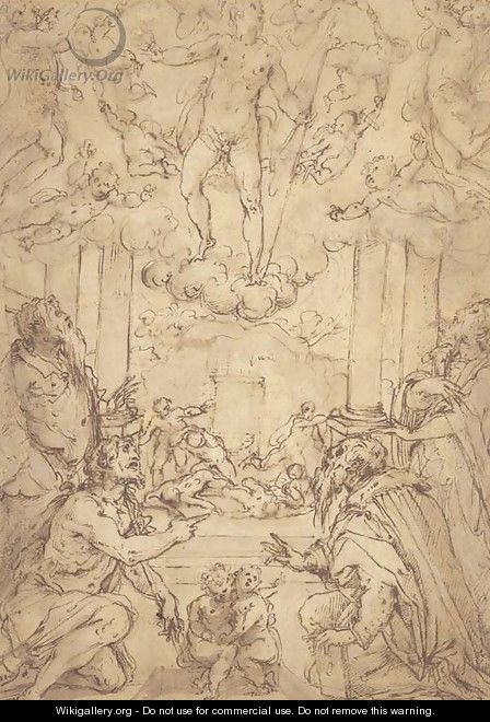 The Resurrection with Saints Andrew, John the Baptist, Cosmas and Damian - Giorgio Vasari