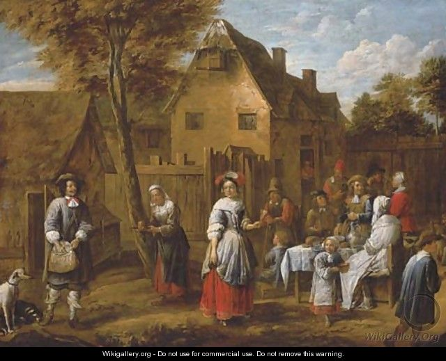 Elegant figures gathering around a table in a courtyard - Gillis van Tilborgh