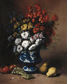 Floral Still Life with Fruit on a Ledge - Theodule Augustine Ribot