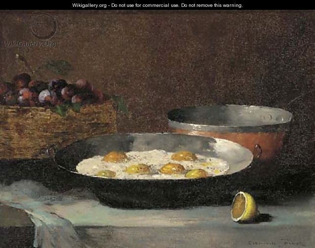 A still life with eggs, plums and a lemon, on a draped ledge - Theodule Augustine Ribot