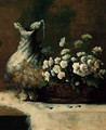 A basket of summer flowers and a waterjug on a table - Theodule Augustine Ribot
