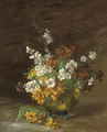 Summer blooms in a jardiniere - Theodule Augustine Ribot