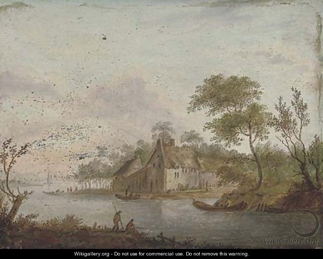 A wooded river landscape with an angler on the river bank, a town beyond - German School