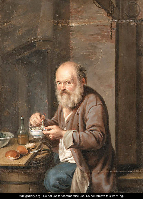 A seated Peasant eating a Meal - German School
