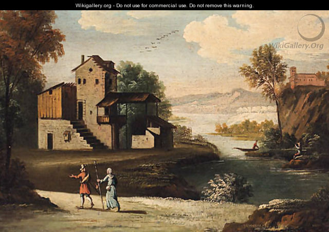 A river landscape with travellers on a track, a farmstead and anglers beyond - German School