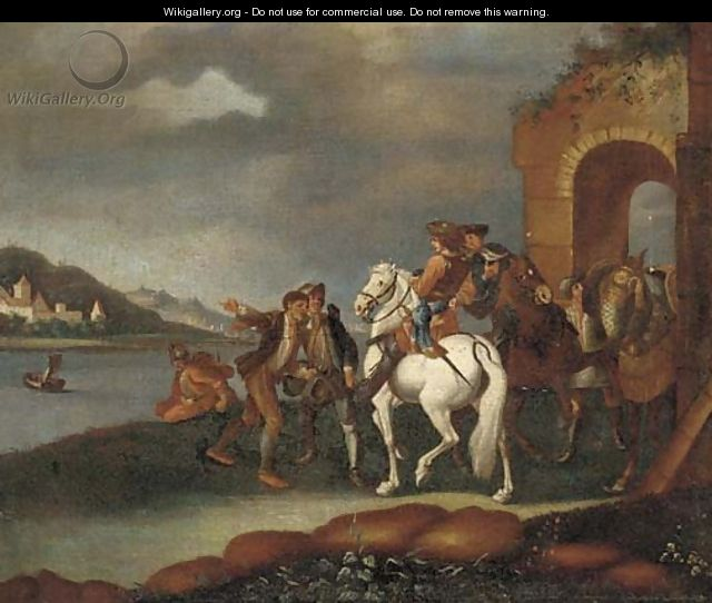 A river landscape with horsemen and other travellers by an arch - German School