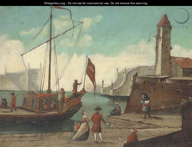 A Mediterranean harbour with elegant figures and a cleric on a quay shipping beyond - German School