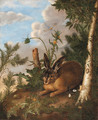 A hare and a dragonfly in a landscape - German School