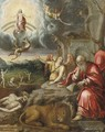 A Landscape With Saint Jerome And The Lion, The Arch Angel Michael And The Last Judgement In The Background - German School