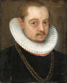 Portraits of a Gentleman small bust length, in black dress with white ruffs and gold chains - German School