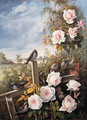 Roses with Sparrows pearched on a Fence in a Landscape - German School