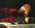A Still Life with Cherries, Plums and Copper Bowl - Theodule Augustine Ribot