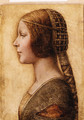 The Head of a young Girl in Profile to the left in Renaissance Dress - German School