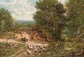 A shepherd and his flock on a country road - George William Mote