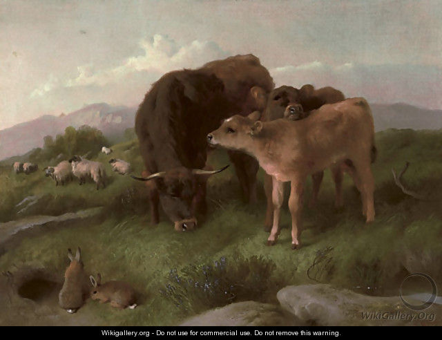 Cattle, sheep and rabbits on a hillside - George W. Horlor
