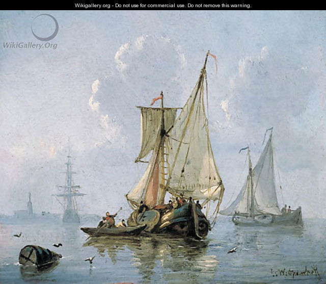 Shipping in a calm sea - George Willem Opdenhoff