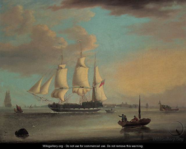 A clipper leaving London, with a view of Greenwich beyond - George Webster