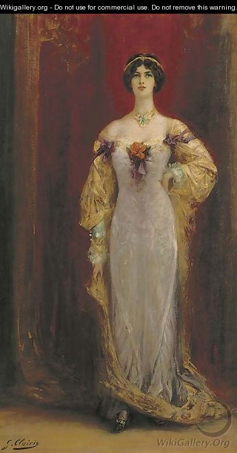 Portrait of Cleo de Merode (1874-1965), small full-length, in a lilac and yellow dress - Georges Jules Victor Clairin
