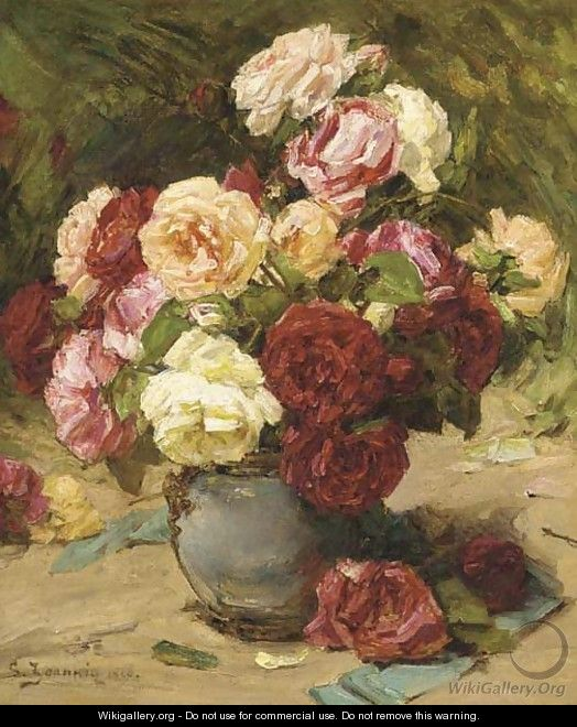 Summer roses in a vase - Georges Jeannin