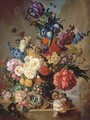 Roses, peonies, irises, hollyhocks, narcissi, blazing star, primulas, marigolds and other flowers with a Five-spot burnet moth in a vase - George Jacobus Johannes Van Os