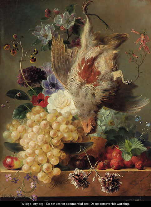 Grapes, strawberries, chestnuts, an apple and flowers with game on a