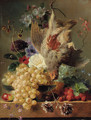 Grapes, strawberries, chestnuts, an apple and flowers with game on a marble ledge - George Jacobus Johannes Van Os