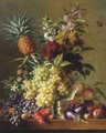 Fruits, vegetables and flowers on a ledge - George Jacobus Johannes Van Os