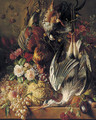 Flowers, fruits and poultry on a ledge - George Jacobus Johannes Van Os