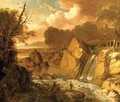 A traveler on a path by a waterfall in an Italianate landscape, a fortress beyond - George Richmond