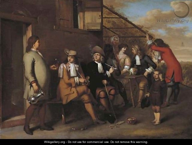 Elegant company smoking and drinking outside an inn - Gerard Hoet