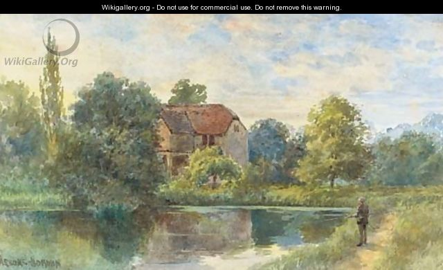 Fly-fishing before a watermill - George Parsons Norman
