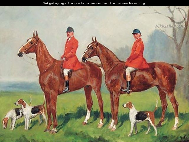 Huntsmen with Hounds at the Edge of a Wood - George Paice