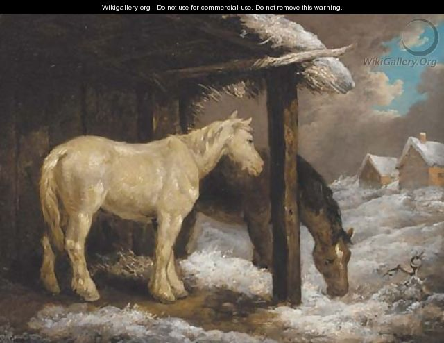 Ponies by a byre in a winter landscape - George Morland