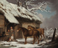A Winter Landscape Two horses and a spaniel outside a cottage - George Morland