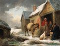 A traveller taking refreshment outside a cottage in winter - George Morland