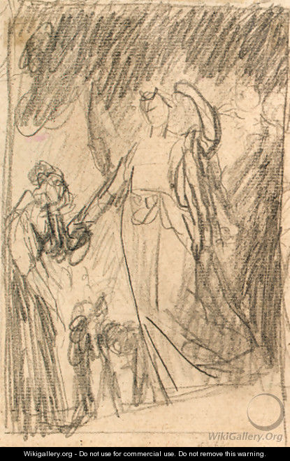 Study of a figure kneeling before and angel - George Romney