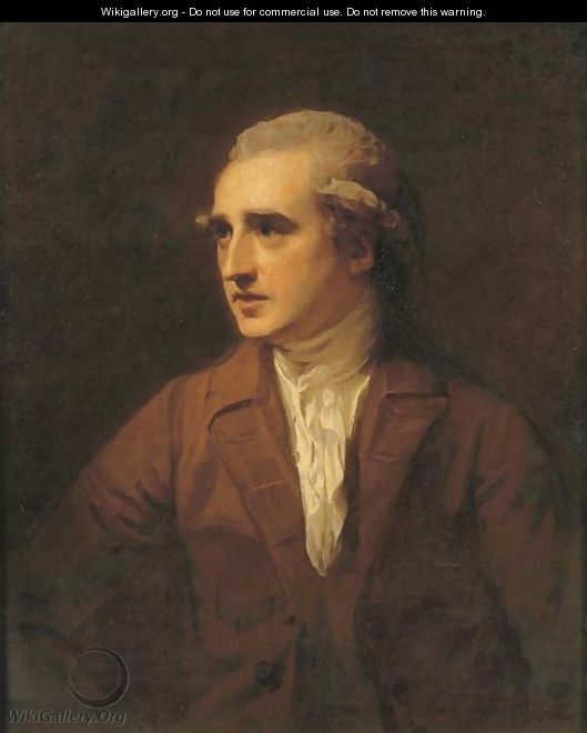 Portrait of the Hon. Charles Francis Greville, half-length, in a brown coat and white necktie - George Romney