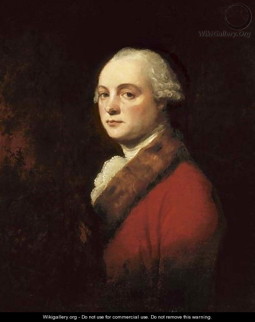 Portrait of John Kenwich, Jr., bust-length, in a red coat with fur trim - George Romney