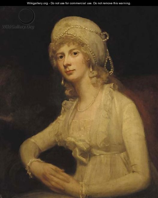 Portrait of a lady, seated half-length, in a white dress and white pearl-trimmed cap - George Romney