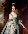 Portrait of a lady, half-length, in a blue and pink dress, in a landscape - George Romney
