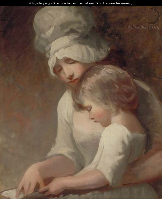 Portrait of a lady and child, traditionally identified as Mrs. Cumberland and her son, Charles - George Romney