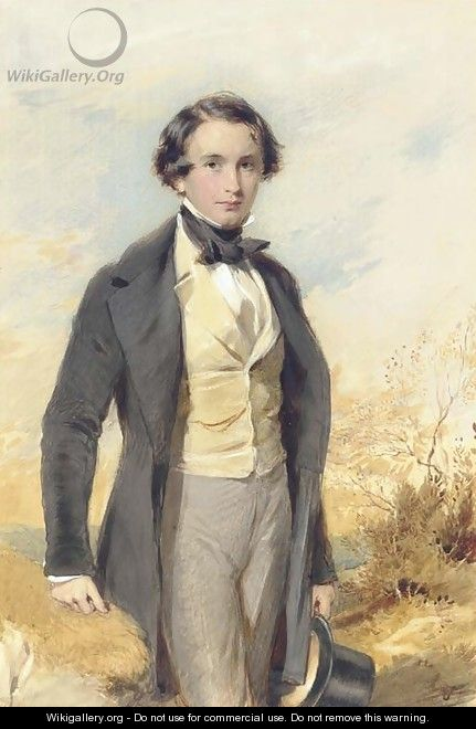 Portrait of Jack Donne, three-quarter length, in a black coat and yellow waistcoat - George Richmond