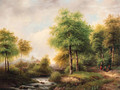 A summer landscape with peasants resting in a forest by a stream - George Pieter Westenberg