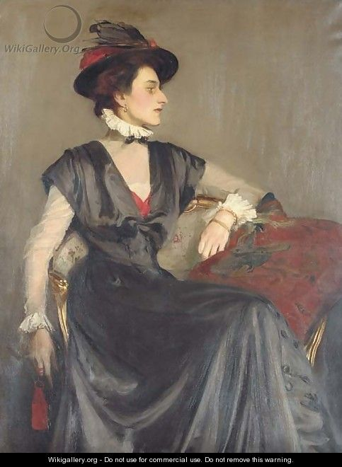 Portrait of Monica Boyd, three-quarter-length, seated in a black dress and red-feathered hat - George Spencer Watson