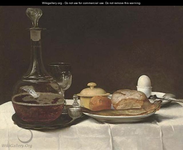 Still life with bread, a kipper, an egg and a decanter of ale on a table with a white linen table-cloth - George, of Chichester Smith