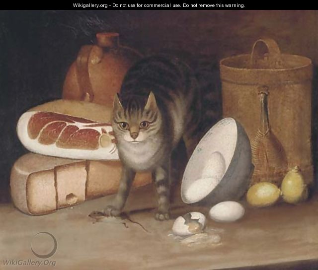 Ham, cheese, eggs, lemons and a cat with a captured mouse - George, of Chichester Smith