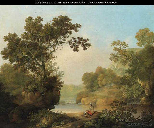 0b462726946e A wooded River Landscape with Figures