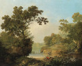 A wooded River Landscape with Figures, a cottage beyond - George, of Chichester Smith