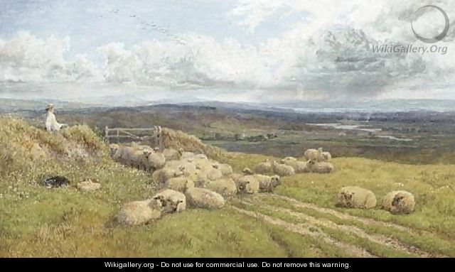 A shepherd and his flock in a meadow - George Shalders