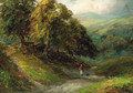 A figure on a wooded valley path - George Turner